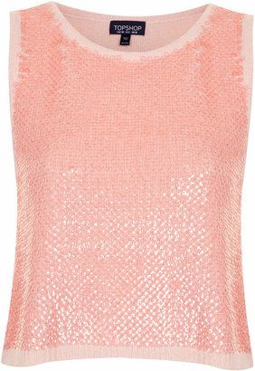 Topshop Knitted sequin front vest top