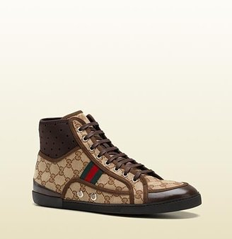 Gucci Hi-Top Lace-Up Sneaker With Signature Web Detail.