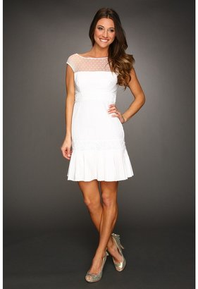 Catherine Malandrino Cap Sleeve Dress with Pintuck Cutout Detail (Blanc) - Apparel
