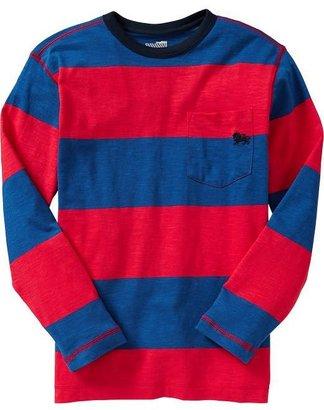 Old Navy Boys Striped Slub-Knit Pocket Tees
