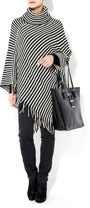 Wallis Black Stripe Poncho