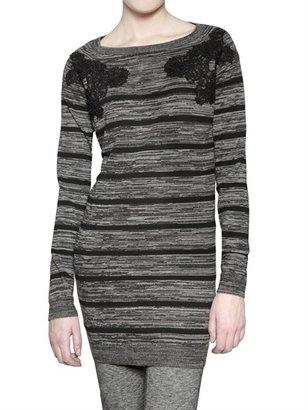 Vanessa Bruno Athè By Striped Wool Knit Mesh Dress