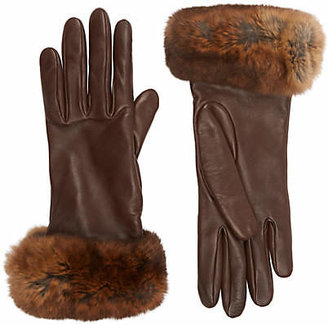 Barneys New York Women's Fur-Cuff Gloves - Brown