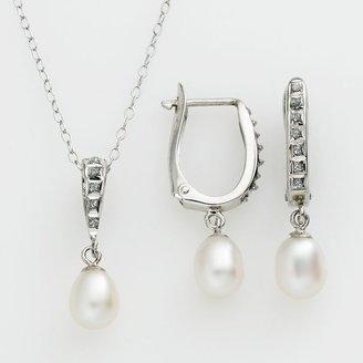 Mystique Diamond TM platinum over silver freshwater cultured pearl pendant & drop earring set