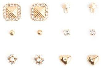 Charlotte Russe Rhinestone, Heart & Cross Stud Earrings - 6 Pack