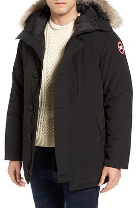Men's Canada Goose 'Chateau' Slim Fit Genuine Coyote Fur Trim Jacket $925 thestylecure.com