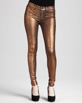 J Brand Jeans 801 Coated Metallic Bronze Skinny Jeans