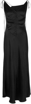 Anna October Spetses Black Satin Midi Dress