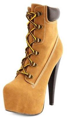 Charlotte Russe Nubuck Lace-Up Heel Bootie