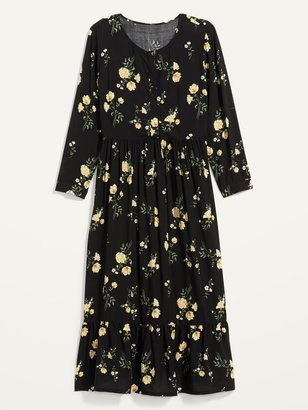 Old Navy Waist-Defined Floral-Print Button-Front Plus-Size Maxi Dress