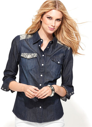 INC International Concepts Petite Shirt, Long-Sleeve Denim Lace
