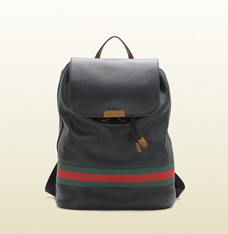 Gucci Black Leather Signature Web Backpack