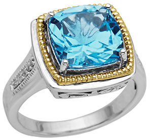 Lord & Taylor Sterling Silver & 14 Kt. Yellow Gold Blue Topaz Ring with Diamonds