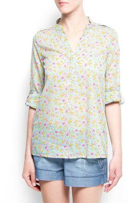 MANGO Floral print cotton blouse