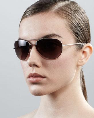 Diane von Furstenberg Hilary Aviator Sunglasses, Sand
