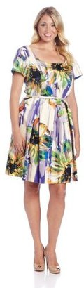 London Times Women's Plus-Size Printed Belted Short Sleeve Flare Dress