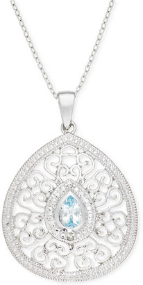 Townsend Victoria Sterling Silver Necklace, Blue Topaz (7/8 ct. t.w.) and Diamond Accent Teardrop Pendant