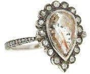 Cathy Waterman Rustic Diamond Scalloped Pear Ring - Platinum