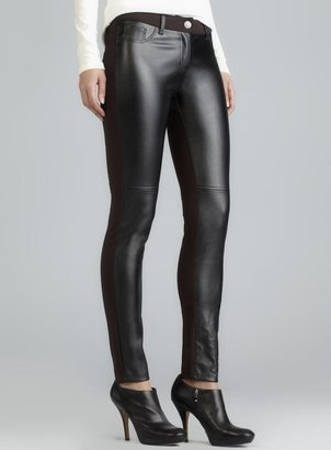 Romeo & Juliet Couture Black & Brown Combo Faux Leather Front Pants