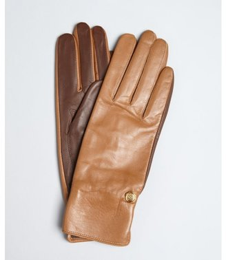 Vince Camuto camel colorblock leather logo charm gloves