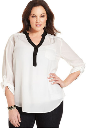 Amy Byer Plus Size Top, Three-Quarter-Sleeve Utility Blouse