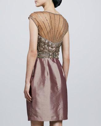 Sue Wong Beaded-Bodice Illusion-Neck Cocktail Dress