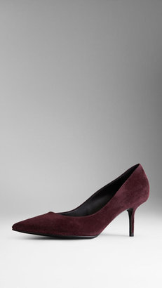 Burberry Point-Toe Suede Pumps