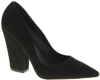 Faith Clarence Pointed Block Heeled Shoes - Black