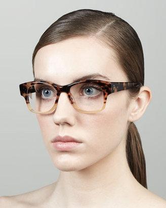 Oliver Peoples Jannsson Large Square Fashion Glasses, Tortoise