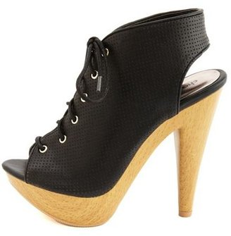 Charlotte Russe Perforated Lace-Up Heel Bootie
