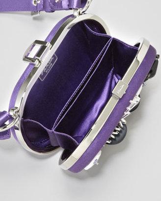 Prada Oval Raso Ricamo Clutch Bag, Viola