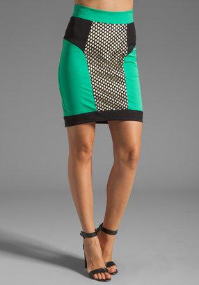Milly Honeycomb Mesh Panel Pencil Skirt