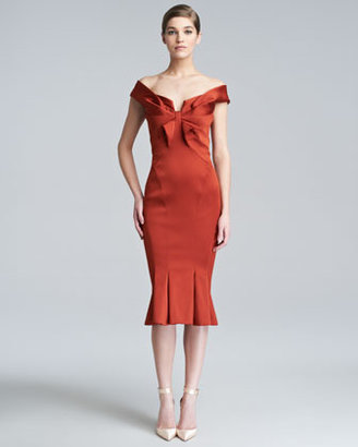 Zac Posen Duchess Satin Fitted Dress