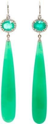 Irene Neuwirth Diamonds Diamond, Emerald & Chrysoprase Drop Earrings