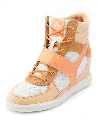 Charlotte Russe Mixed Media Wedge Sneaker
