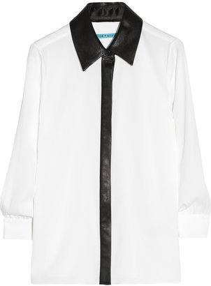 Alice + Olivia Willa leather-trimmed silk-blend top
