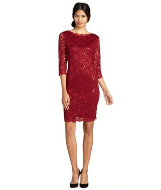 R & M Richards R&M Richards crimson sequined stretch daisy patterned lace evening dress