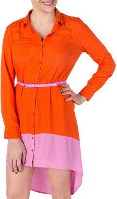 Jessica Simpson Veracruz Colorblock Orange Shirtdress Juniors