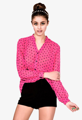 Forever 21 Neon Polka Dot Button Up