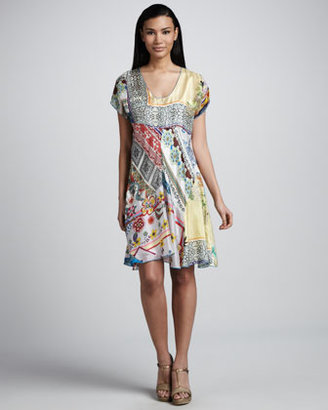 Johnny Was Collection Mixed Print Silk Flare Dress, Women's