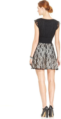 American Rag Dress, Short Sleeve Colorblock Lace A-Line