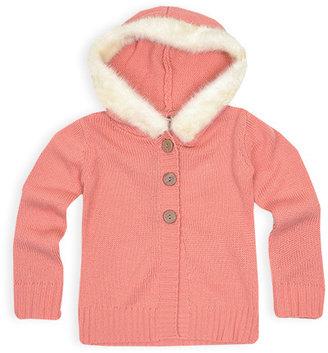 Pumpkin Patch Faux Fur Trim Hooded Cardigan