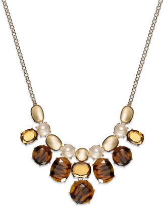 Charter Club Gold-Tone Tortoise and Imitation Pearl Frontal Necklace