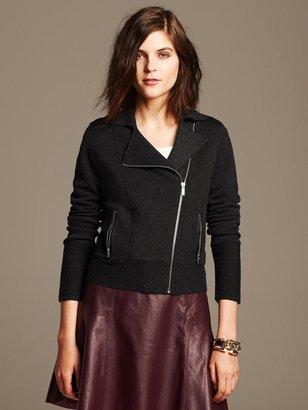 Banana Republic Faux-Leather Trim Moto Sweater Jacket