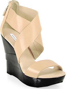 Diane von Furstenberg Opal - Leather Wedge Sandal in Natural