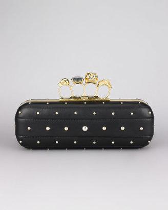 Alexander McQueen Studded Knuckle-Clasp Clutch Bag