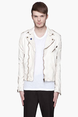 McQ by Alexander McQueen Off-white Washed Leather Hybrid Biker Jacket