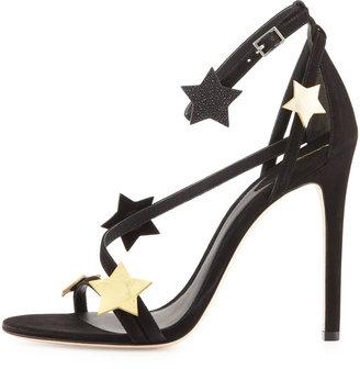Brian Atwood Licata Suede Star Sandal, Black Multi