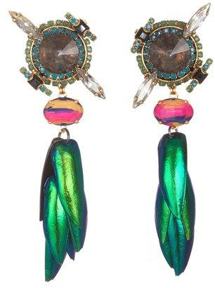 Erickson Beamon Green Leaf Earrings