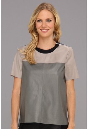 Rebecca Taylor Leather Tee (Multi) - Apparel